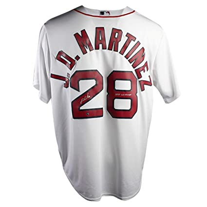 7065e85ebe4 J.D. Martinez Autographed Signed Boston Red Sox Replica Home Jersey With  2018 Ws Champs Insc