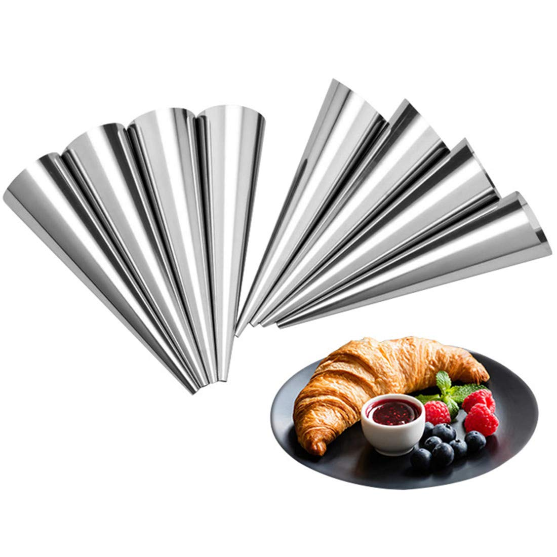 Tebery 30 Pcs Lady lock forms,Stainless Steel Pastry Cream Horn Molds,Free Standing Cone Shape by Tebery