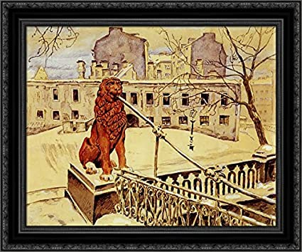 Amazon com: The Lion Bridge in Petrograd 24x20 Black Ornate Wood