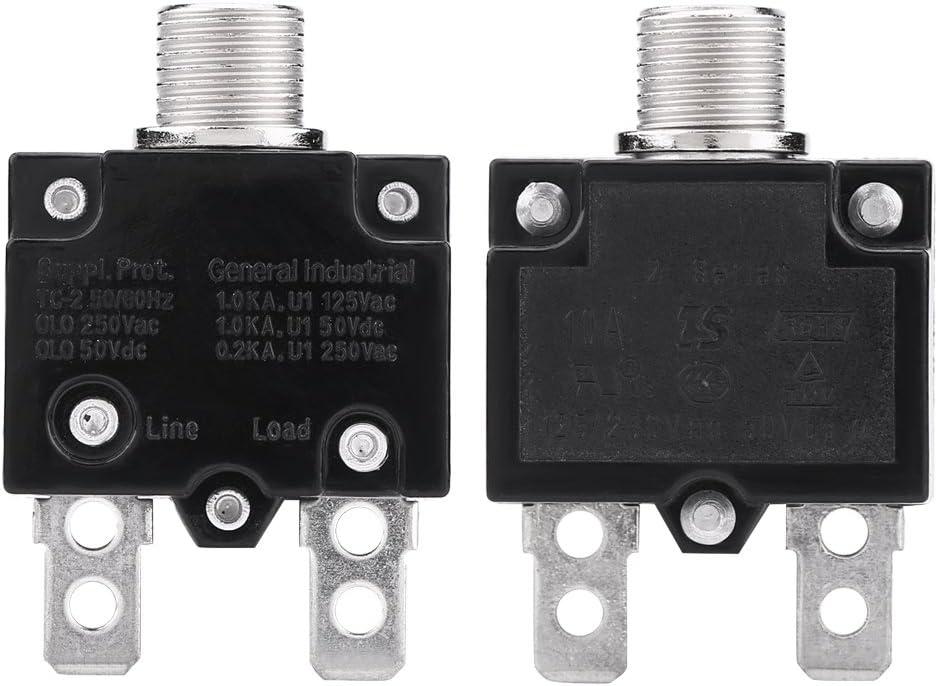 250V VGEBY1 Thermische Leistungsschalter Drucktaste AC 125 /Überstromschutzschalter mit Manueller R/ückstellung f/ür Generator