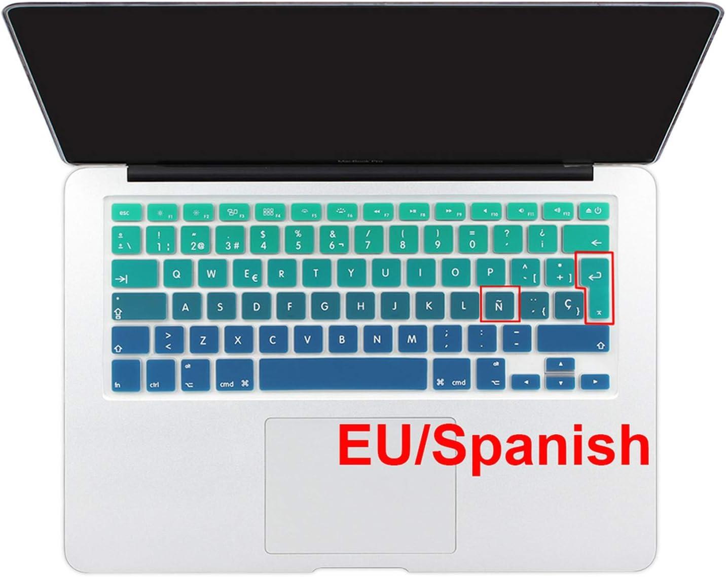 Euro Spanish English Russia Water Dust Proof Keyboard Cover for MacBook air 13 Protector Gradual Change Colors-EU Spanish Rainbow