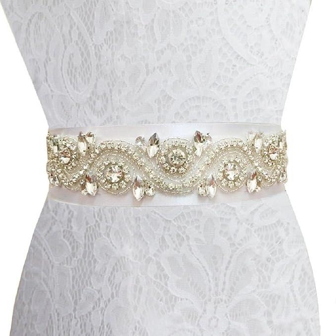 shinybeauty Rhinestone Applique – Banda de boda, diseño de novia y novia Sash para vestido