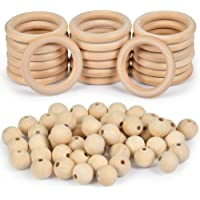 WOWOSS 70 Pcs Unfinished Solid Wooden Rings and Natural Round Wood Spacer Beads Without Paint for Necklace Bracelet…