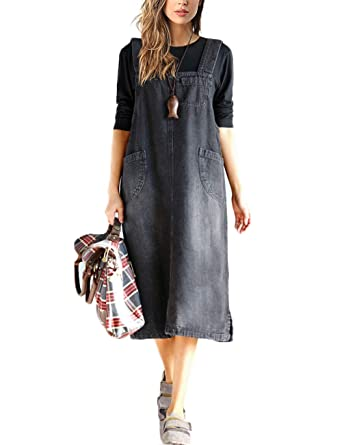 Innifer Overall Pinafore Dress Skirt/Women\'s Loose Casual Strap Jeans Denim  Overall Dress