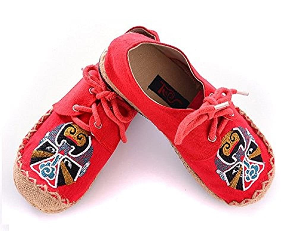Amazon.com | T&W womens handmade embroidery Espadrille round toe linen canvas chinese Flats shoe | Shoes