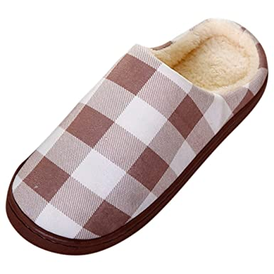b40beed723bce Amazon.com: NUWFOR Men Warm Plaid Home Plush Soft Slippers Indoors ...