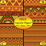 Green & Orange Tribal Pattern Printed Heat Transfer Vinyl (Style C - 12 x 36)