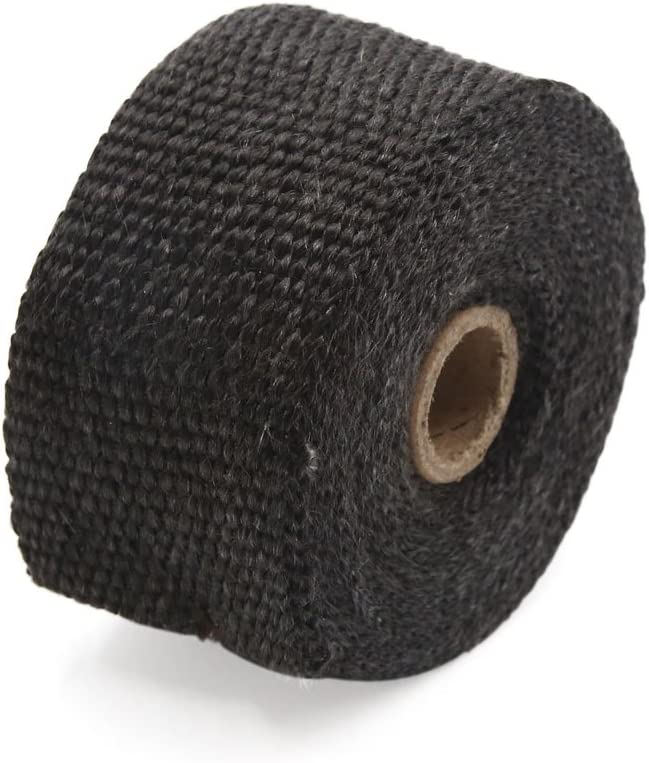 uxcell Black Fiberglass Exhaust Pipe Wrap Tape Turbo Heat Insulation Cloth 5M Long