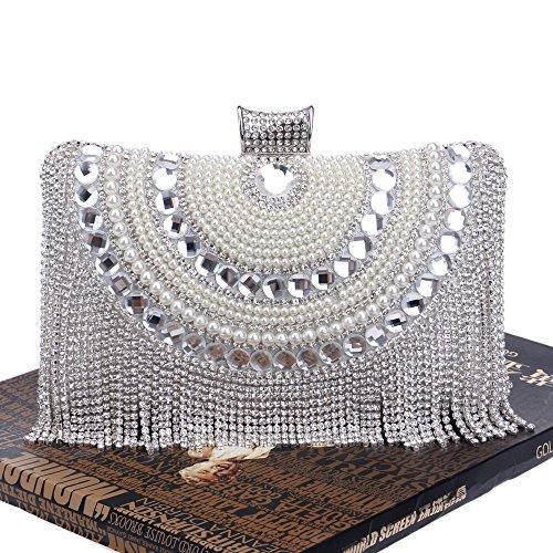 Cristallo Diamanti Con Perline Donna Rettangolo A Nappe Sera Strass Bianca Piccola Forma Di Tracolla Da Borsa Perle qtP8w8H