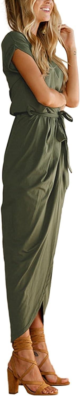 YOINS Robe /Ét/é Femme Robe Maxi Longue Chic Robe de Plage Asym/étrique Robe Tunique Boh/ême Grand Taille