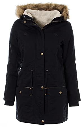 Womens Ladies Navy Winter Fur Trim Hooded Parka Warm Jacket Coat 8 ...