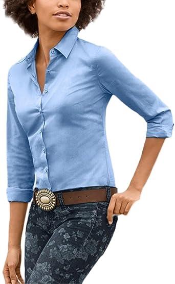 Saoye Fashion Camisas Mujer Manga Larga Elegantes Oficina Negocios Ejecutiva Tops Blusa De Solapa con Botones Slim Fit Moda Color Sólido Primavera Otoño Camisa Blouses: Amazon.es: Ropa y accesorios