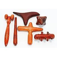 Set 6 Pcs. Reflexology Traditional Thai Massage Wooden Stick Tool Hand Head Foot Face Body Massage Tool Massager Red Wood