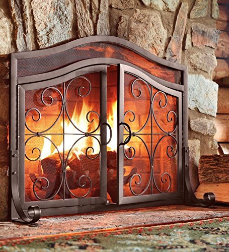Large Crest Fireplace Screen With Doors, in Copper finish