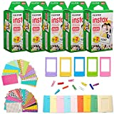 #6: Fujifilm Instax Mini Instant Film Giant Bundle(5 Twin Packs, 100 Total Pictures) + 120 Sticker Frames, 10 Plastic Desk Frame, 20 Hanging Clips with String, Micro-fiber Cleaning Cloth