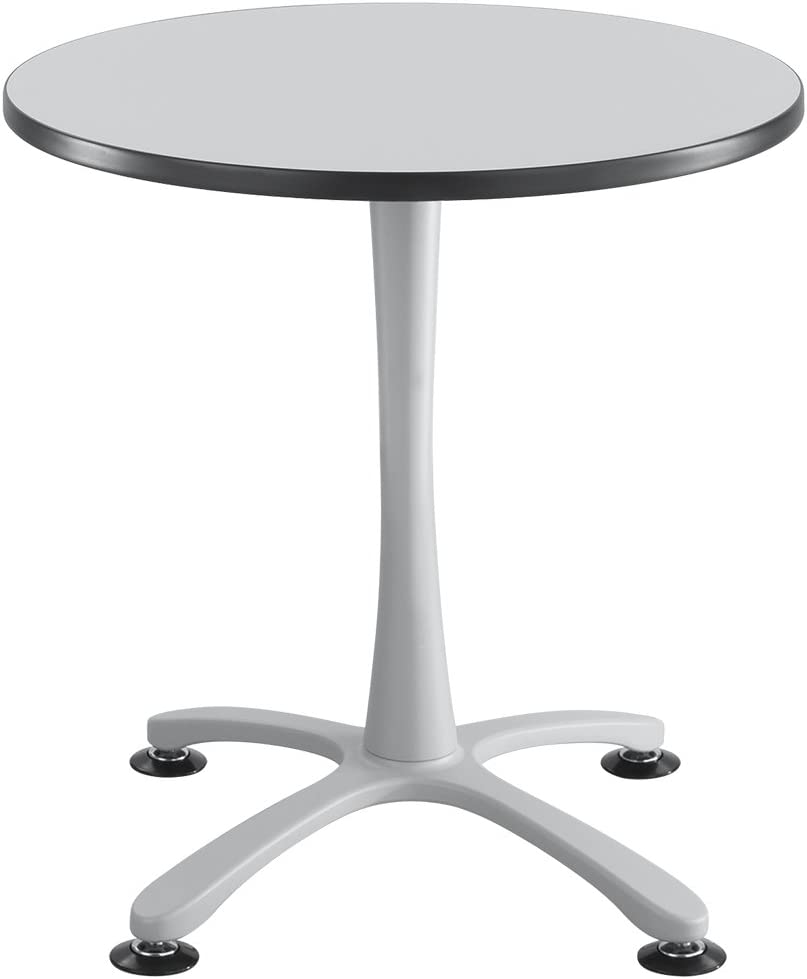 "Cha-Cha Tables, Sitting-Height, X Base, 30"" Round Gray Tabletop & Metallic Gray Base"