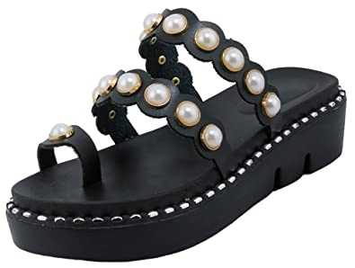 c5e7987da083fe Mofri Women s Comfortable Beaded Toe Ring Open Toe Platform Mid Heel Slide  Sandals (Black