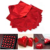 JoyGlobal Diwali Aluminium High Quality Sweets Candy Chocolate Foil Wrappers,325 Pieces, Red