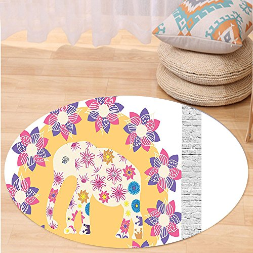 VROSELV Custom carpetCartoon Thai Baby Elephant Kids Decor Colorful Natural Wildlife Animal Prints Bedroom Living Room Dorm Decor Round 72 inches by VROSELV