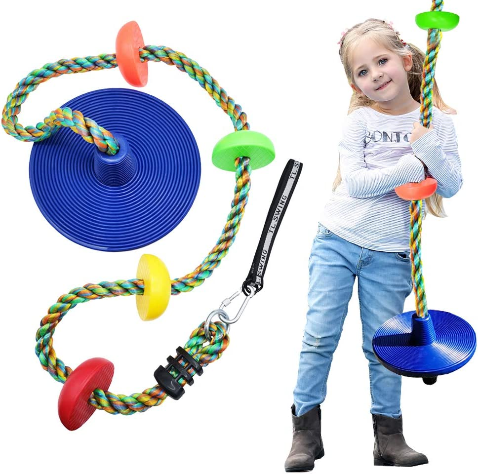 WISHAVE Climbing Rope Tree Swing with Multicolor Platforms and Blue Disc Swings Seat Set Outdoor Backyard Playground Playset Accessories for Kids