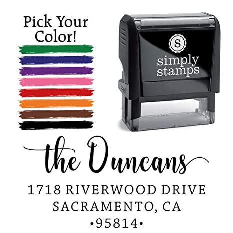 Personalized Address Stamp Recycled Plastic Climate Neutral Stamper Custom Self Inking Stamp