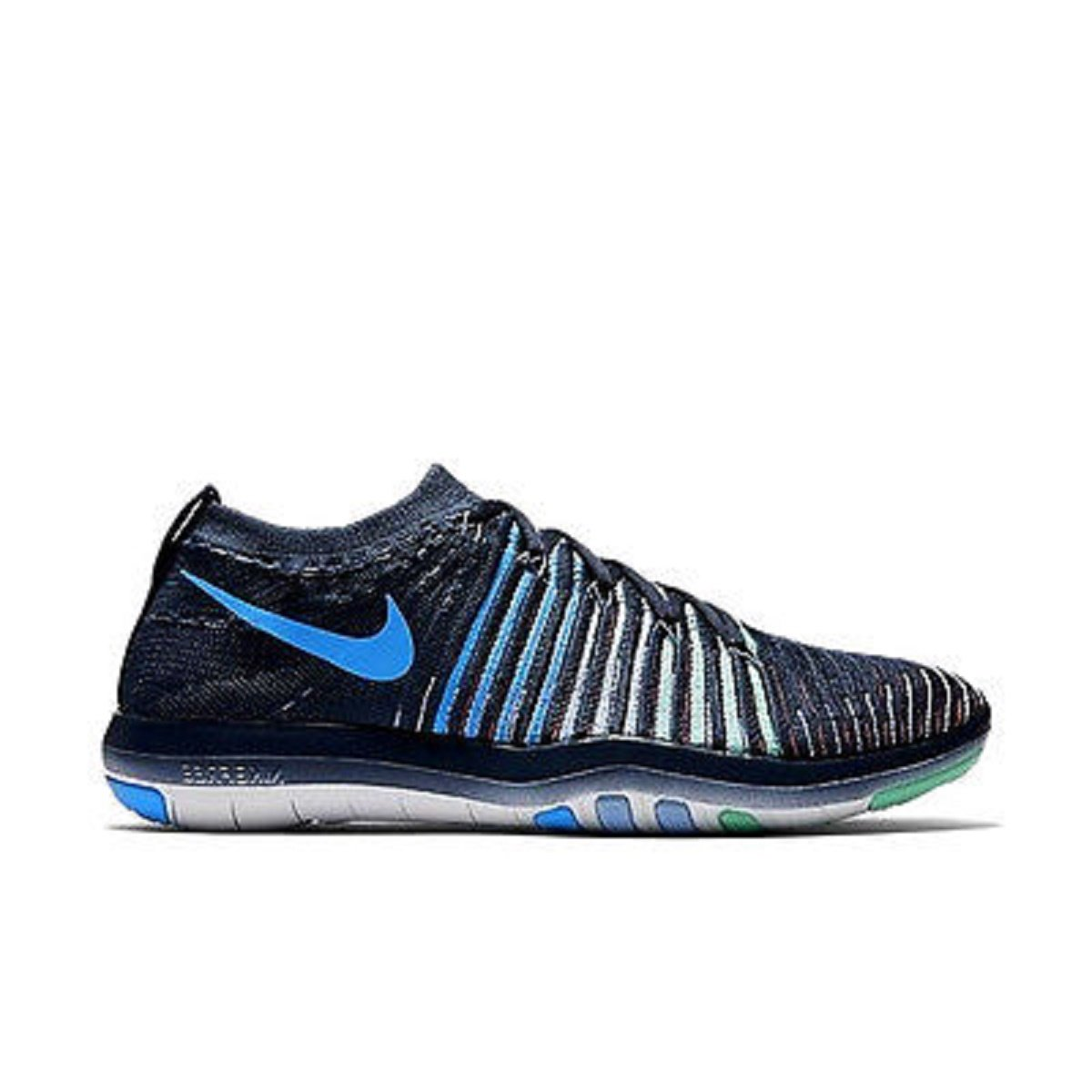 NIKE Womens Free Focus Flyknit Mesh Breathable Trainers B01MF5D4SQ 7.5 B(M) US|Squadron Blue/Green Glow/Summit White/Blue Glow
