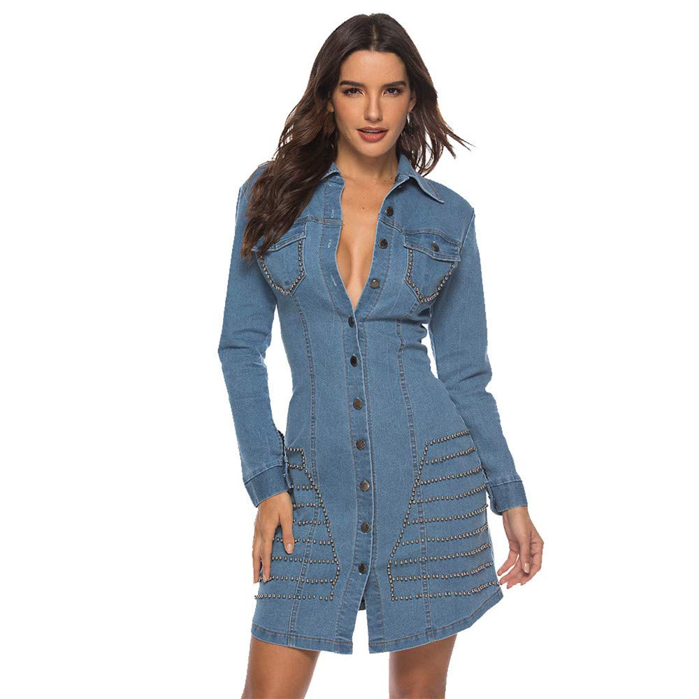 BAOHOKE Women's Fashion Rivet Button Denim Dress,Sexy Long-Sleeved Mini Slim Dress(Blue,S)