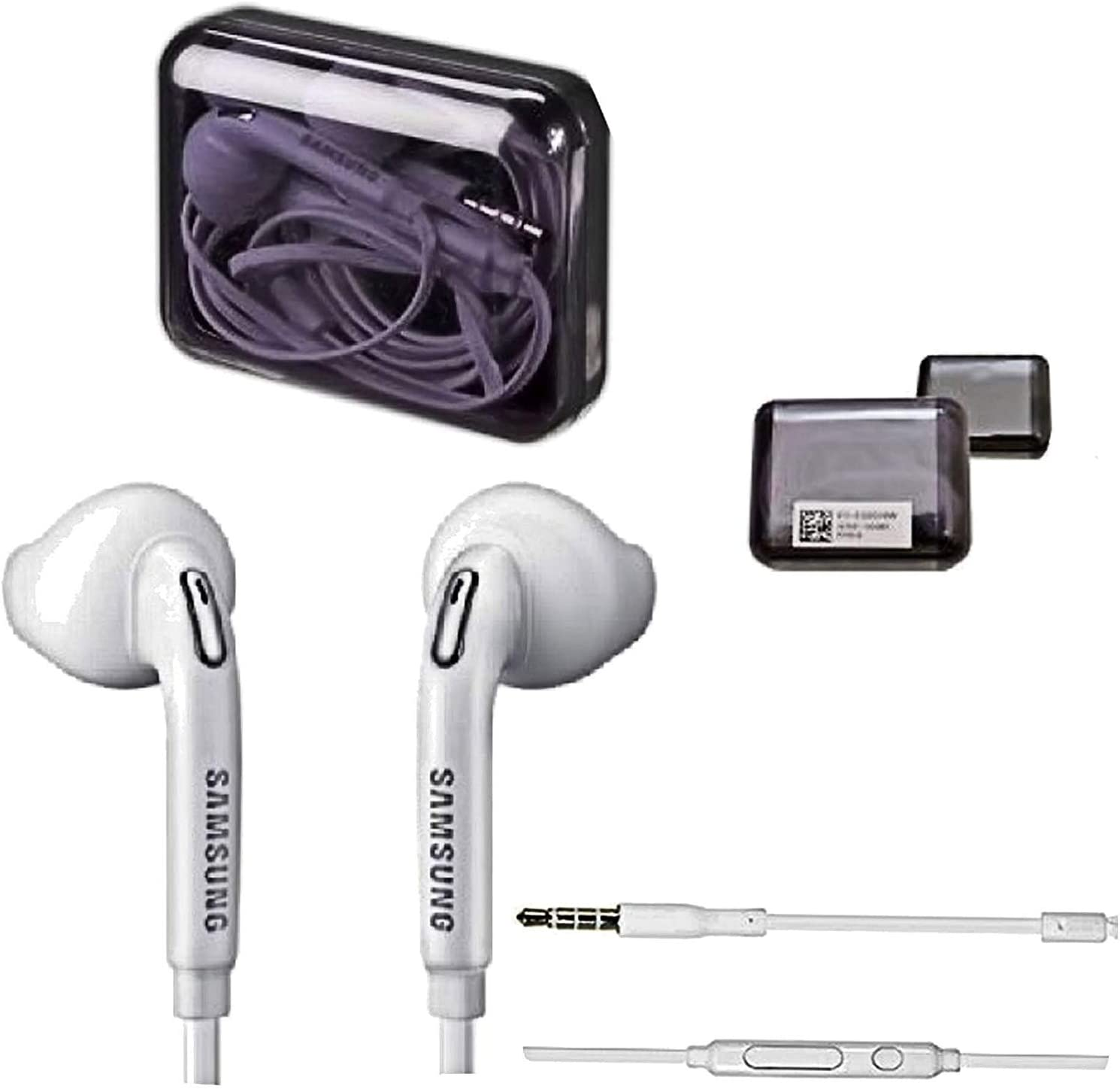 SAMSUNG Premium Headset Jewel Case Box - Auriculares in-Ear (Manos Libres, Compatible con teléfonos móviles con Clavija de 3,5 mm), Color Blanco