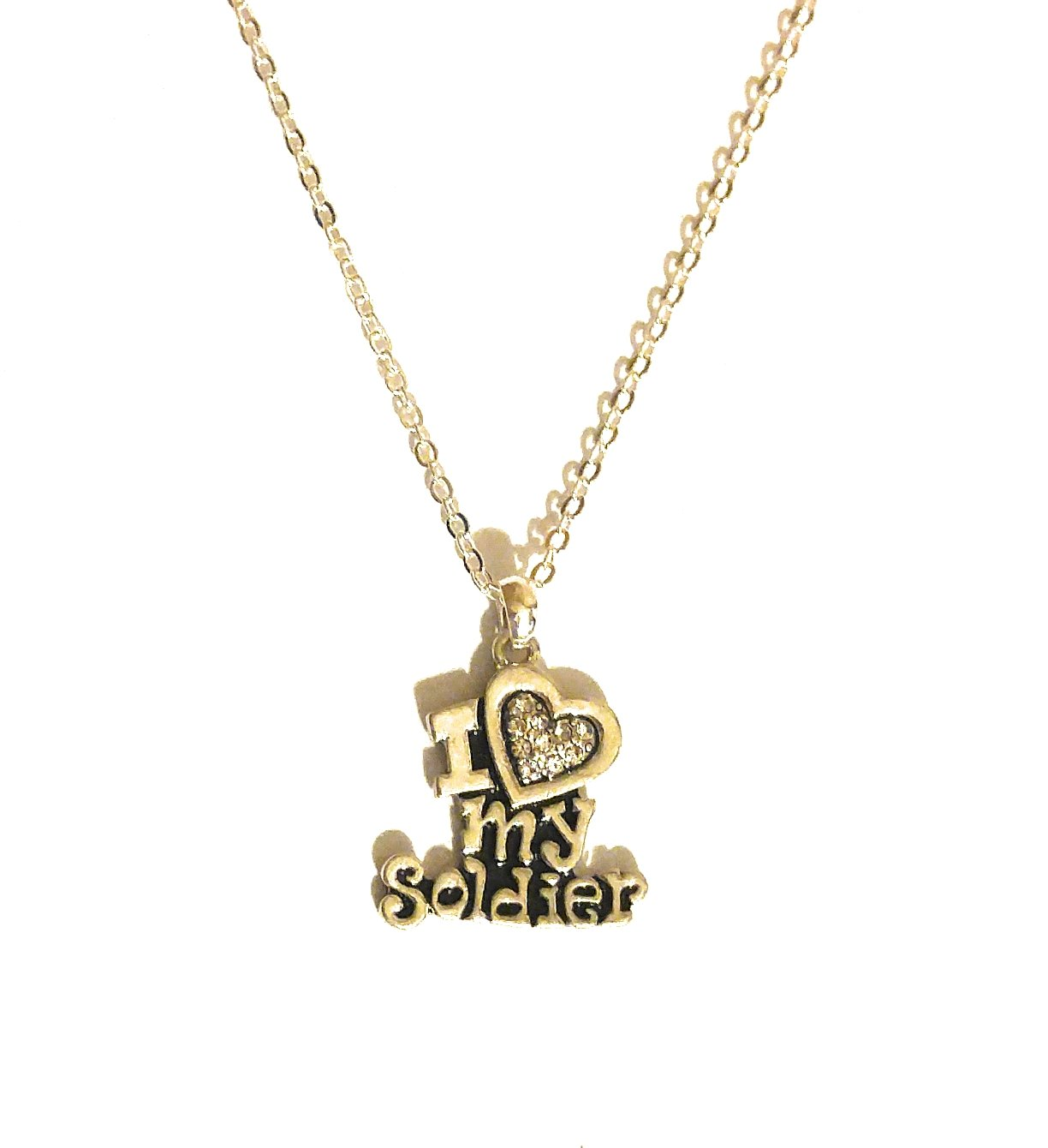 FTH I Love My Soldier Silver & Crystal Pendant Jewelry (Necklace)