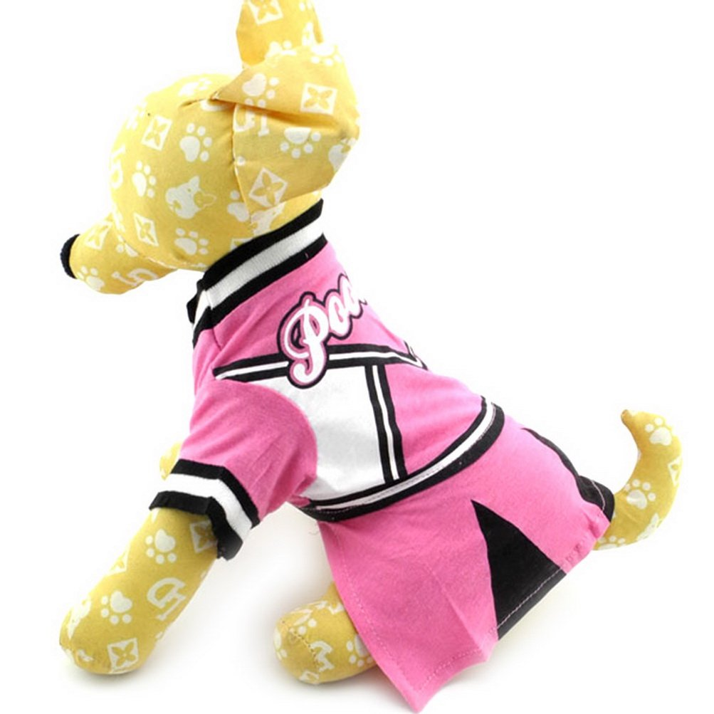 Zunea Cheerleaders Small Dog costume femminile Pet camicie per cucciolo cotone estate geometrico chihuahua Pooches prendisole vestiti rosa nero