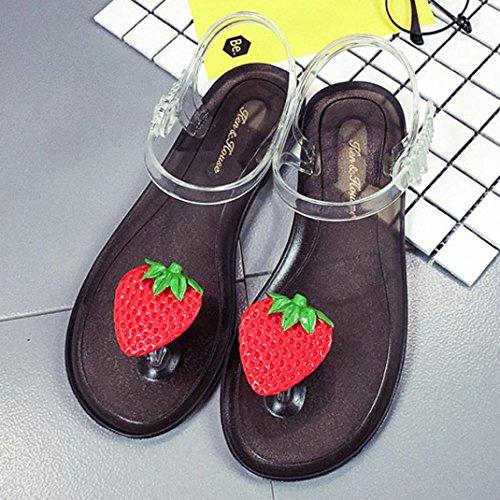 5e8d825faff890 Rumas Women Strawberry Flip flops Sandals Shoes Transparent Sole Beach  Sandals outlet