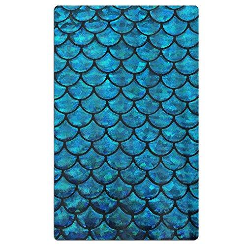 FSKDOM Cotton Plush Mermaid Blue Fish Scales Printing Oversi
