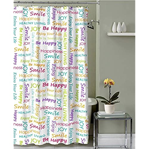 Healthy Happy Joy Fabric Shower Curtain Colorful Inspirational Word Design