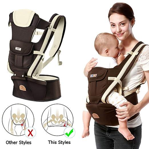Hip Seat Toddler 360 Ergonomische Babytrage Kindertrage R/ückentrage weicher Babyrucksack Tr/äger-Sicherheitsgurt Bund f/ür Neugeborene Babytrage f/ür Neugeborene Kleinkinder Brown S/äuglinge