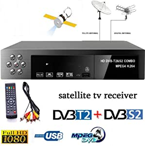XuBa Smart Digital Receptor de TV por satélite DVB-T2 + DVB-S2 FTA 1080P Decodificador MPEG4: Amazon.es: Electrónica