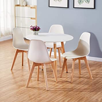 Awesome Goldfan Dining Room Set Eiffel Dining Table And Chairs Set 4 Modern Round Kitchen Table Wood Style White Interior Design Ideas Oxytryabchikinfo