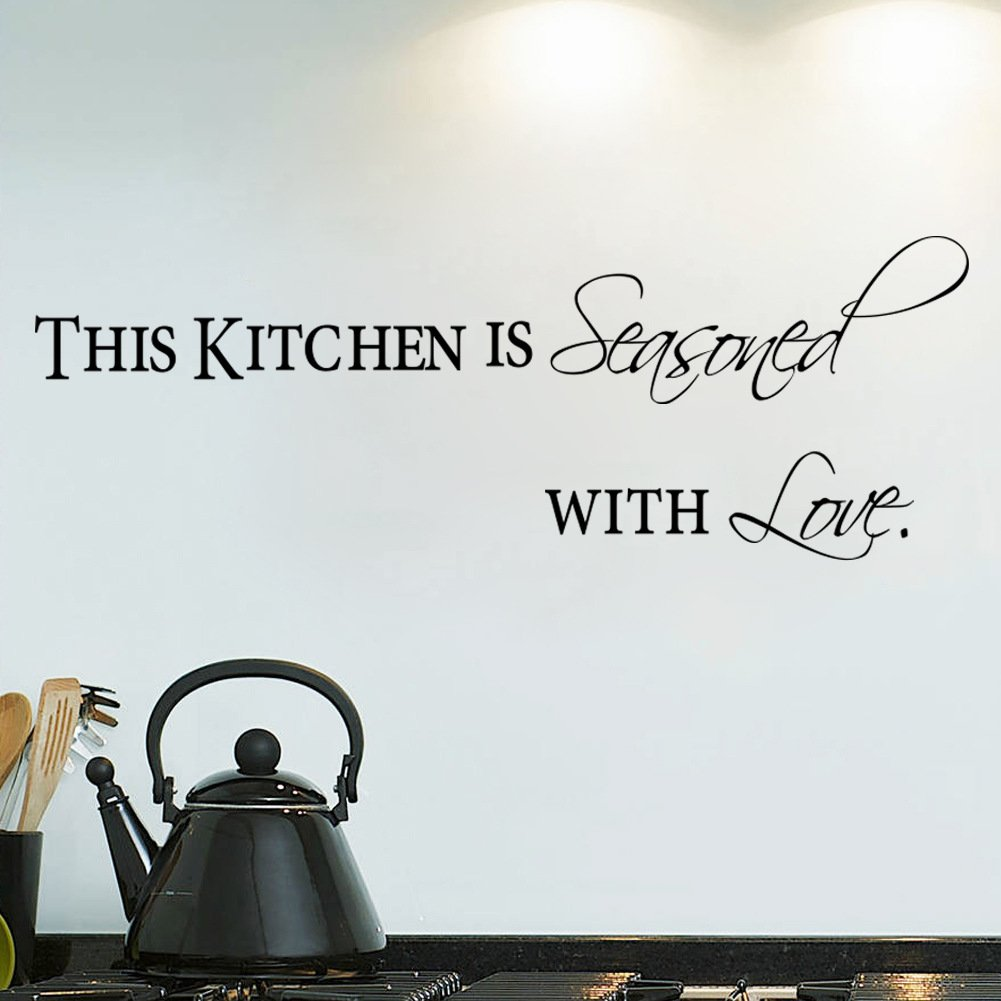 FANGLEE This Kitchen is Seasoned with Love Quotes Wall Decal Removable Vinyl Lettering Wall Art Stickers Athena Bacon