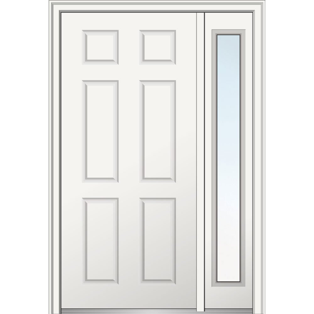 National Door Z029374R  Primed Right Hand In-swing, Prehung Front Door, 6-Panel, 36'' x 80'' with One 14'' Sidelite, Steel