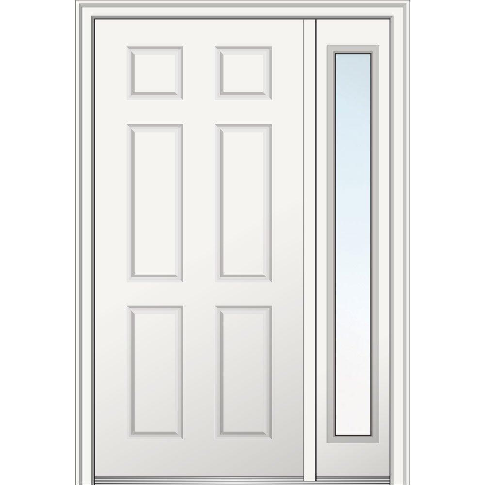 National Door Z029374R  Primed Right Hand In-swing, Prehung Front Door, 6-Panel, 36'' x 80'' with One 14'' Sidelite, Steel by National Door Company (Image #1)