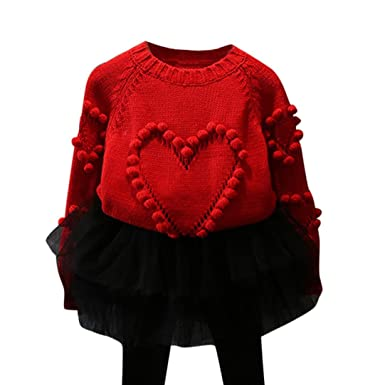 c4dd1224d Amazon.com  KONFA Boys Girls Love Knitted Sweater Pullovers ...