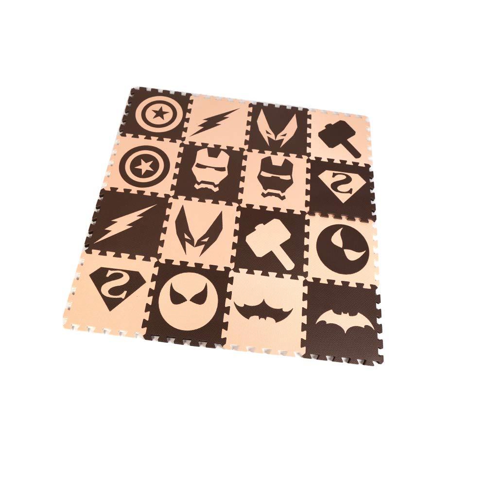 16 Piezas HB.YE Alfombra Puzzle para Ni/ños Infantil Negro /& Blanco 30*30*1cm Combatiente Alfombrillas de Juego para Gatear y Aprender Suave Suelo Goma para Beb/é