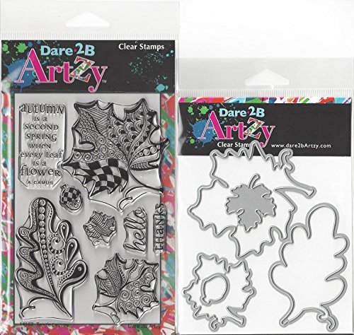 dare-2b-artzy-tangle-leaves-clear-cling-rubber-stamps-and-leaf-die-set-bundle-2-items
