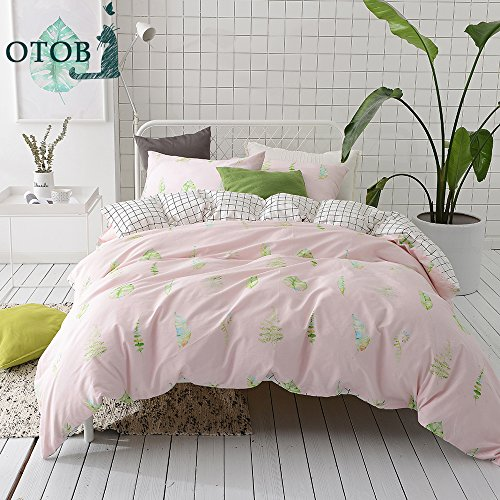 Summer Grid (ORUSA Grid Leaves Pattern Cotton Reversible Summer Bedding Set with Pillow Sham Child Duvet Cover Set for Girls Teens Pink White Queen/Full,Style c)