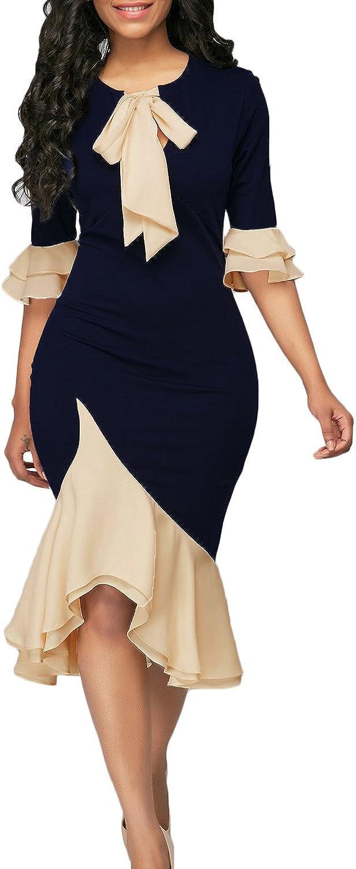 Yacun Women Bodycon Dress Cocktail Work Half Sleeve Bow Tie Party Dresses