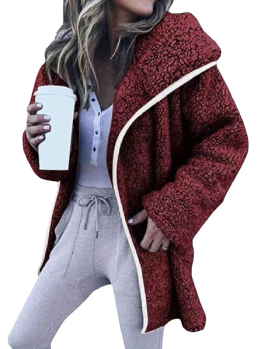 YUNY Women Warm Velvet Long-Sleeve Open-Front Lapel Mid Long Coat Jacket Pattern2 M