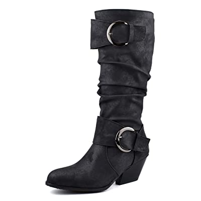 Amazon.com | 100FIXEO Women Retro Strange Mid Heel Mid Calf Boots Buckle Strap Slip On Comfort Slouch Boots | Mid-Calf