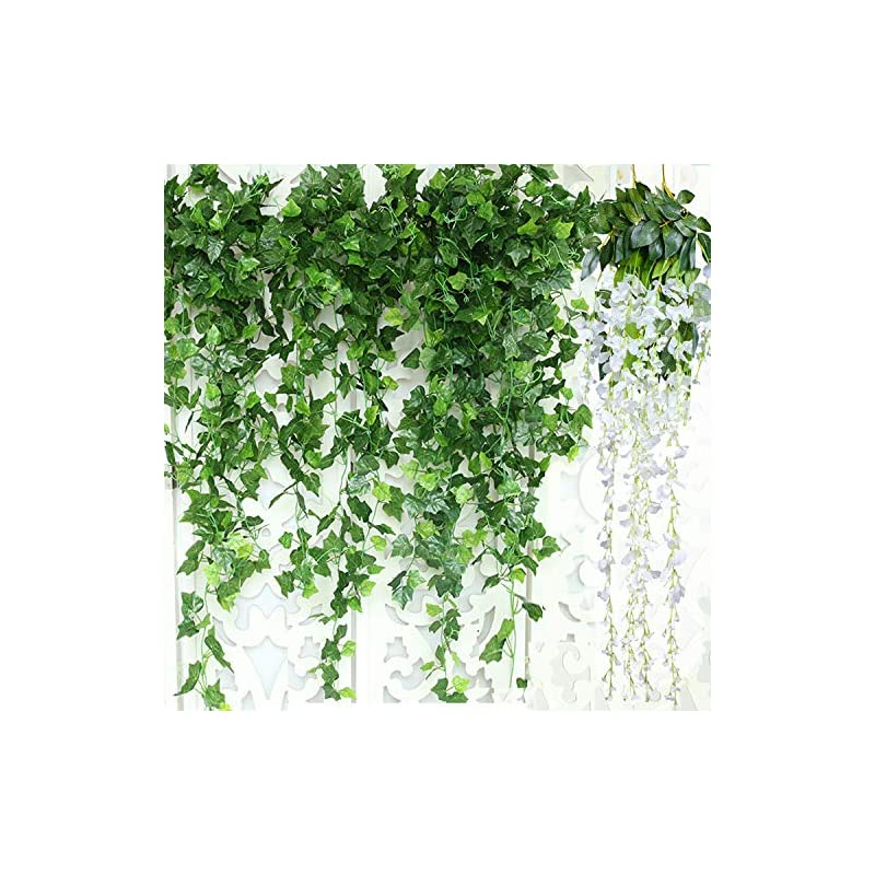 silk flower arrangements artificial ivy leaf garland plants vine, 84 ft 12 pack greenery fake foliage garland hanging with 2pcs wisteria vine gift for wedding party garden home kitchen office wall decorations