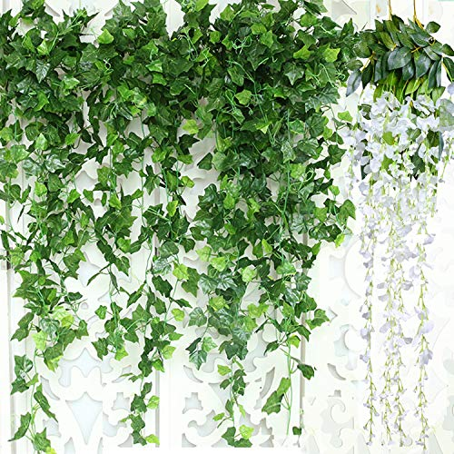 - GuassLee Artificial Ivy Leaf Garland Plants Vine - 84 Ft-12 Pack Greenery Fake Foliage Garland Hanging with 2pcs Wisteria Vine Gift for Wedding Party Garden Home Kitchen Office Wall Decorations