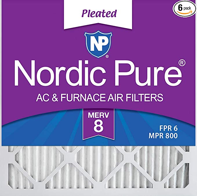 Nordic Pure 12x18x1 Exact MERV 8 Pleated AC Furnace Air Filters 6 Pack