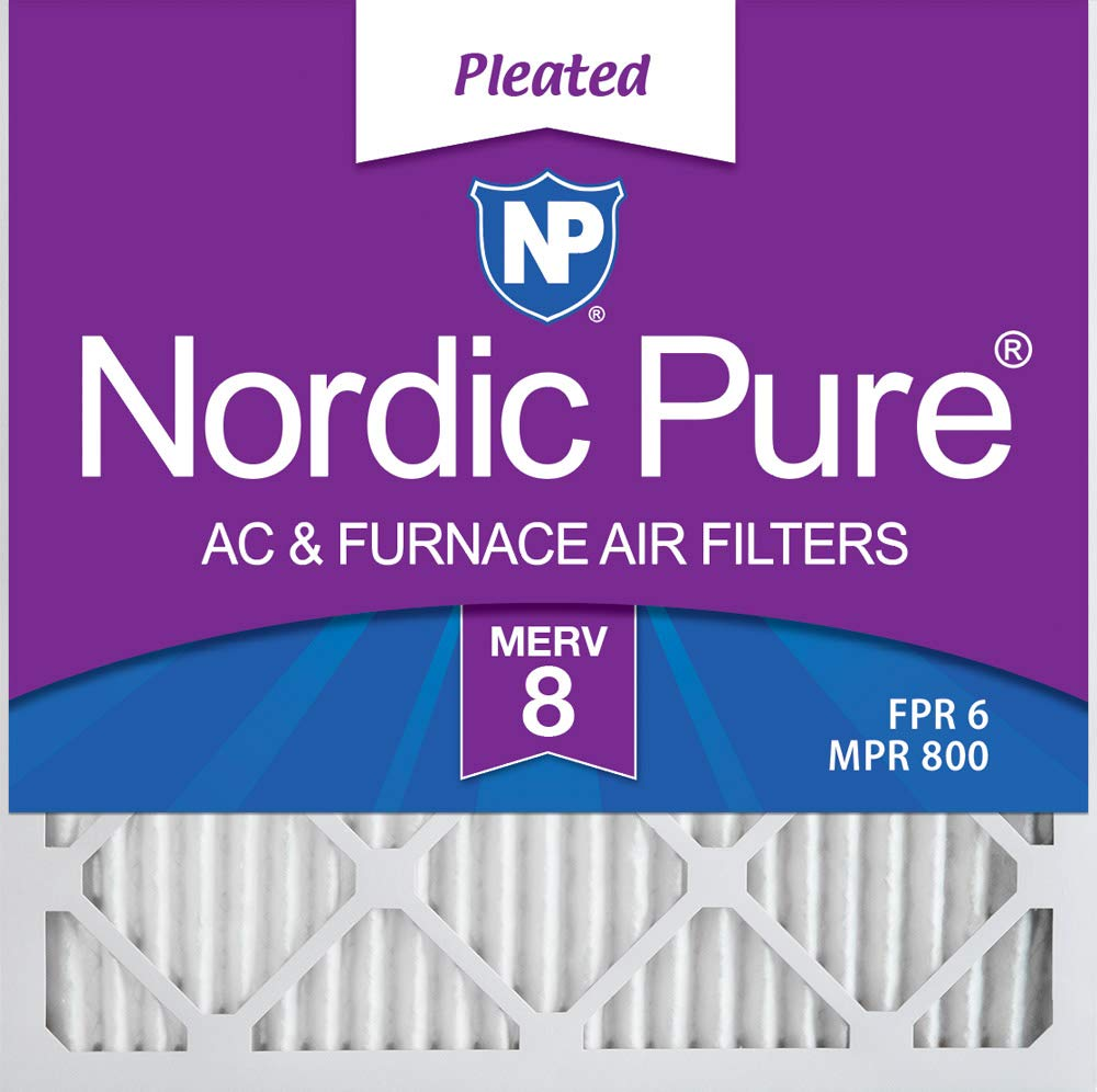 Nordic Pure 10x10x1 Exact MERV 8 Pleated AC Furnace Air Filters 4 Pack